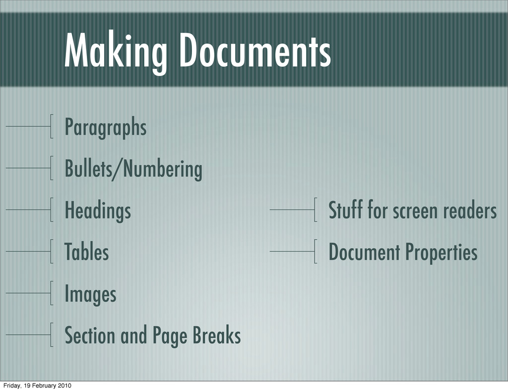Making Documents Paragraphs Bullets/Numbering H...