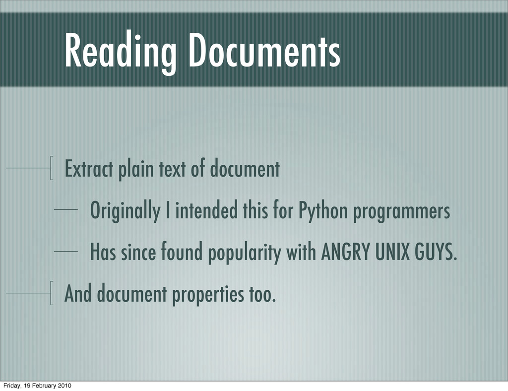 Reading Documents Extract plain text of documen...