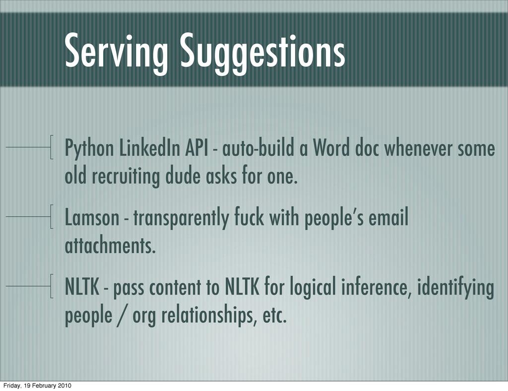 Serving Suggestions Python LinkedIn API - auto-...