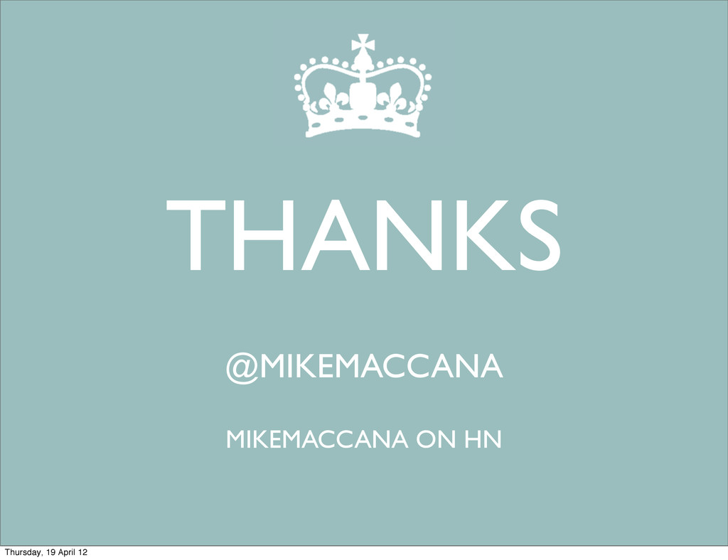 THANKS @MIKEMACCANA MIKEMACCANA ON HN Thursday,...