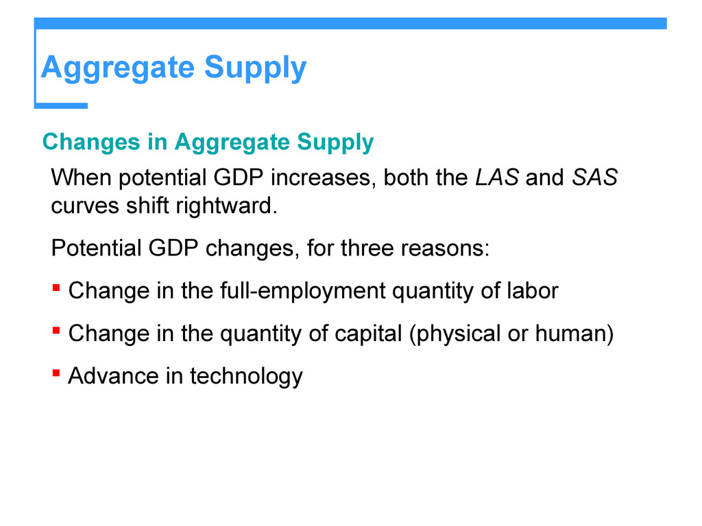 Aggregate Supply Changes in Aggregate Supply Wh...