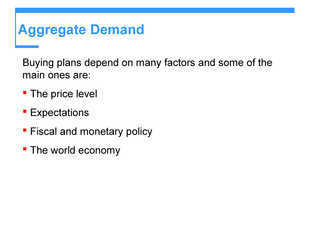 Aggregate Demand Buying plans depend on many fa...