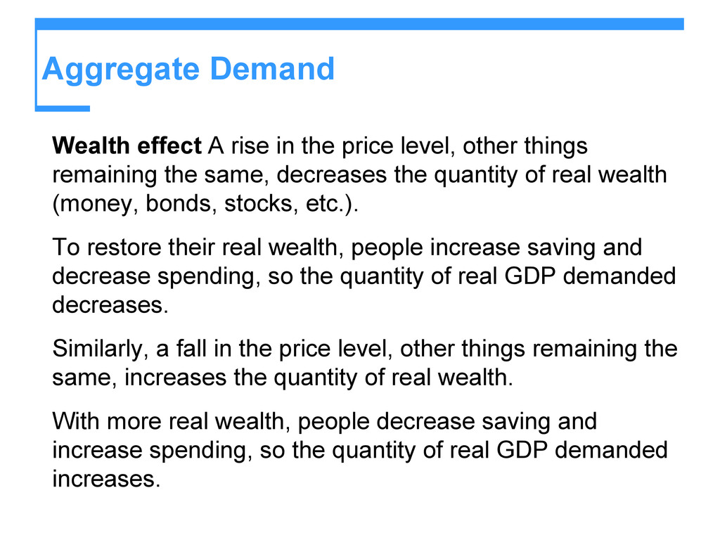 Aggregate Demand Wealth effect A rise in the pr...