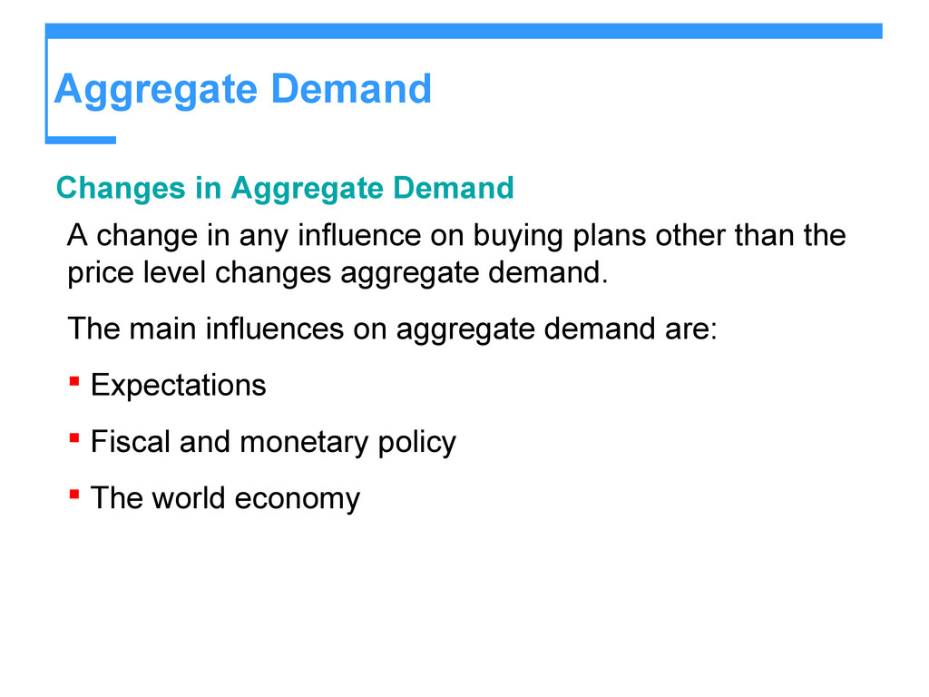 Aggregate Demand Changes in Aggregate Demand A ...