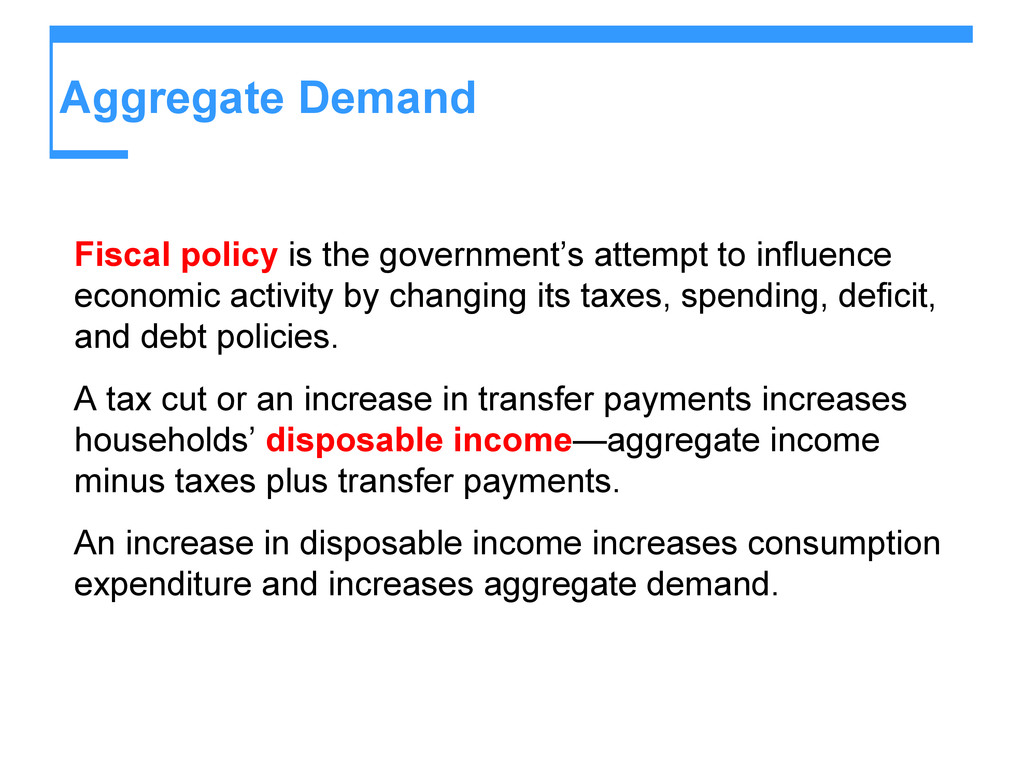 Aggregate Demand Fiscal policy is the governmen...