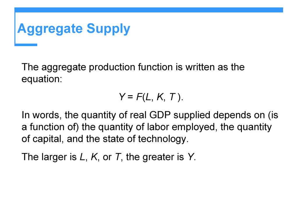 Aggregate Supply The aggregate production funct...