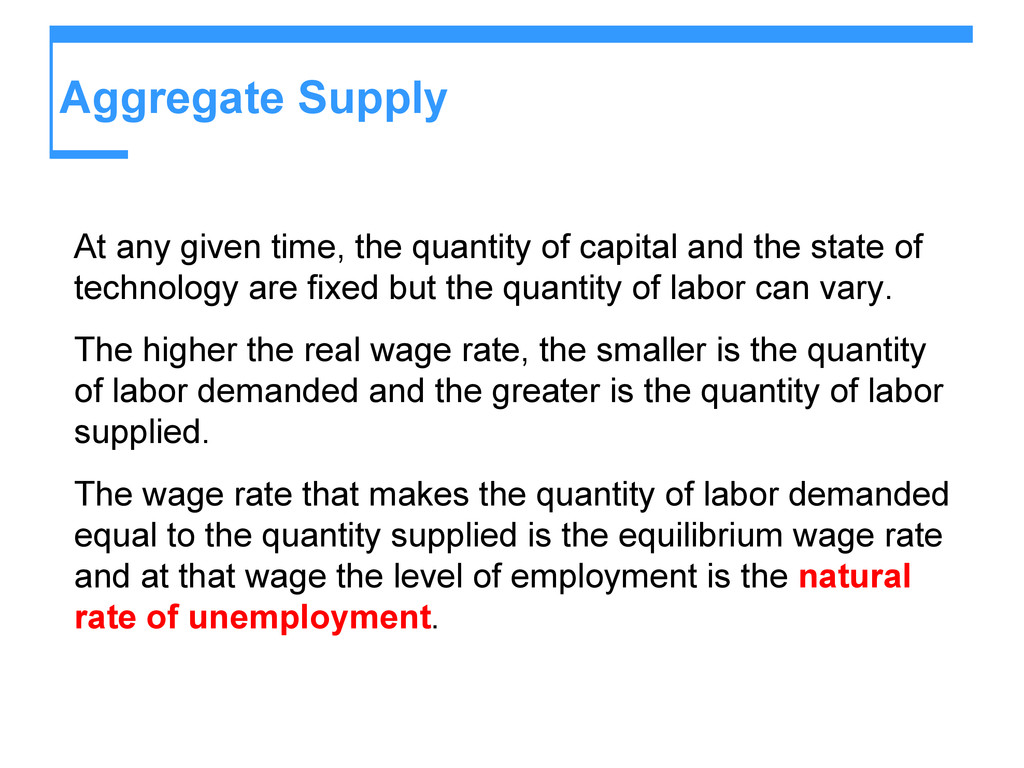 Aggregate Supply At any given time, the quantit...