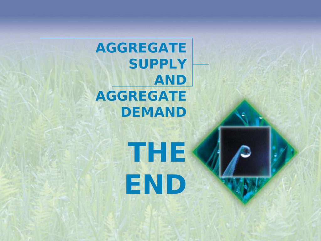 THE END AGGREGATE SUPPLY AND AGGREGATE DEMAND