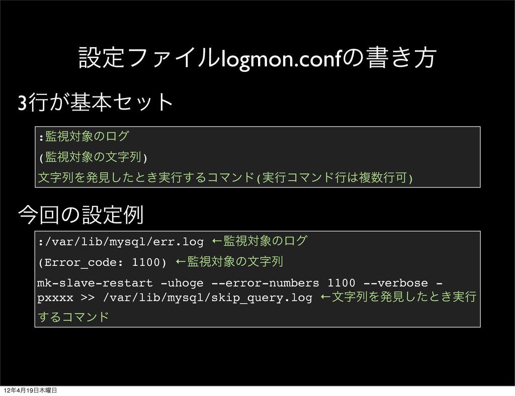 ઃఆϑΝΠϧlogmon.confͷॻ͖ํ :/var/lib/mysql/err.log ←...