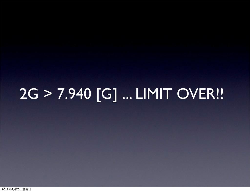 2G > 7.940 [G] ... LIMIT OVER!! 20124݄20༵ۚ