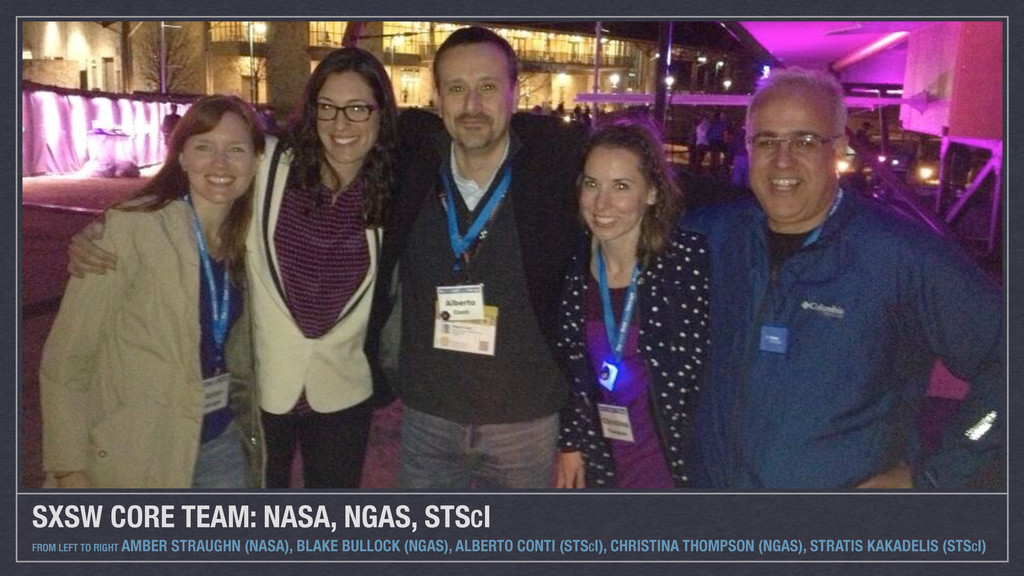 SXSW CORE TEAM: NASA, NGAS, STSCI FROM LEFT TO ...
