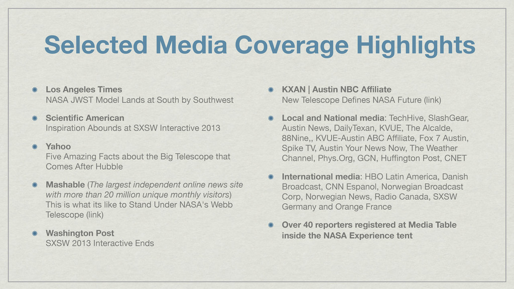 Selected Media Coverage Highlights Los Angeles ...