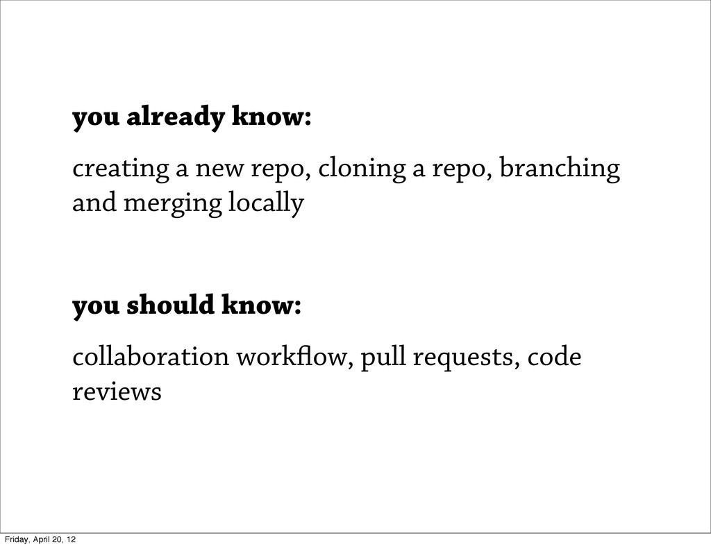you already know: creating a new repo, cloning ...