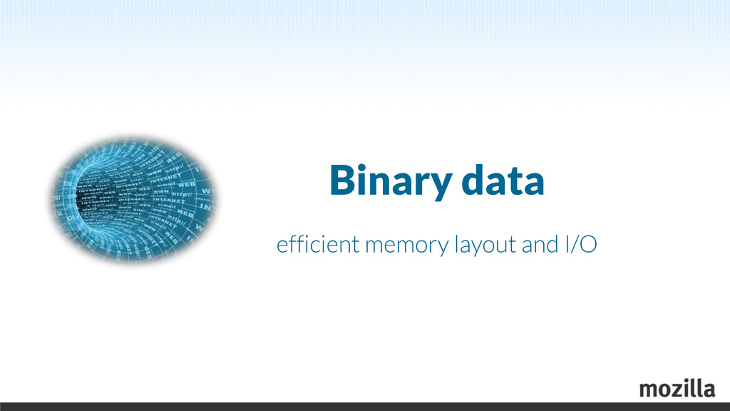 Binary data efficient memory layout and I/O