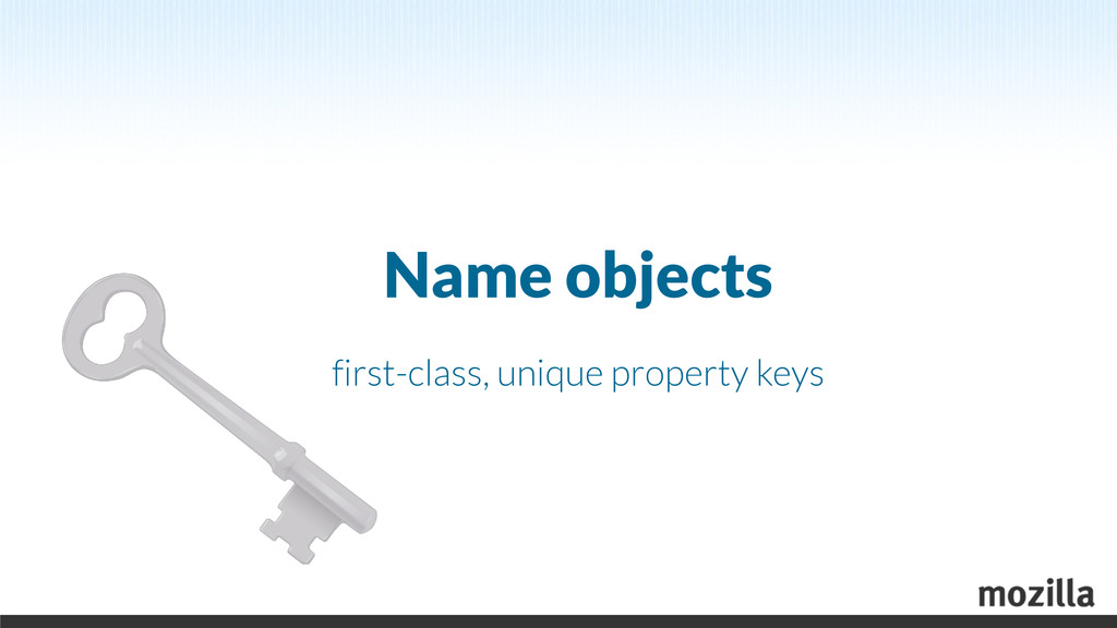 Name objects first-class, unique property keys
