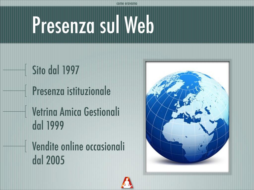 Presenza sul Web Sito dal 1997 Presenza istituz...