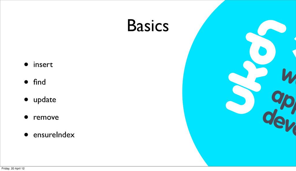 Basics • insert • find • update • remove • ensur...