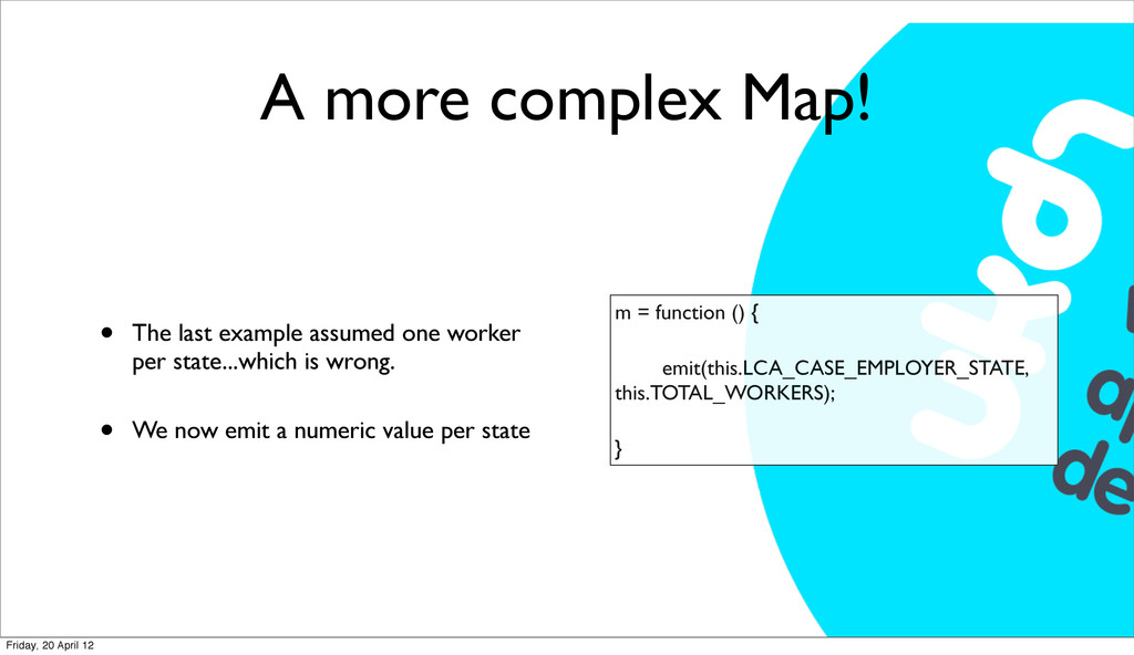 A more complex Map! • The last example assumed ...