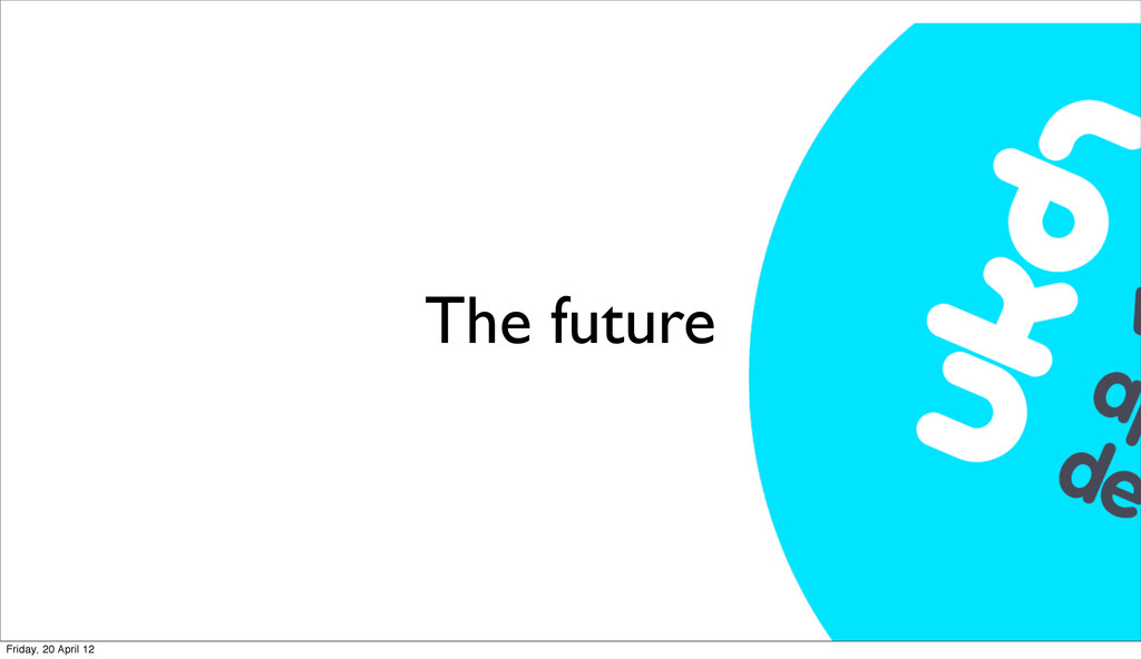 The future Friday, 20 April 12