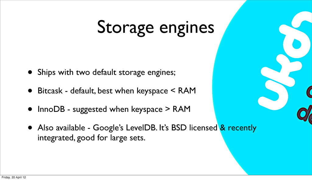 Storage engines • Ships with two default storag...