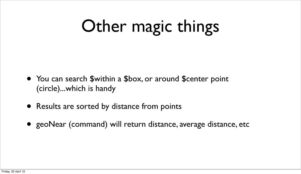 Other magic things • You can search $within a $...