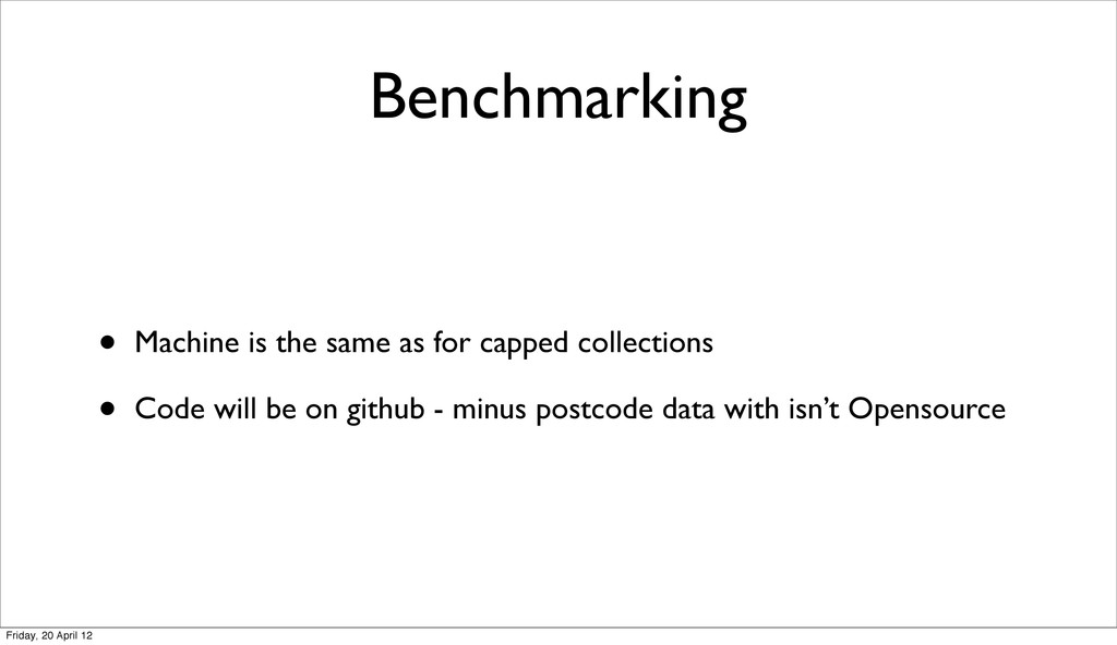 Benchmarking • Machine is the same as for cappe...