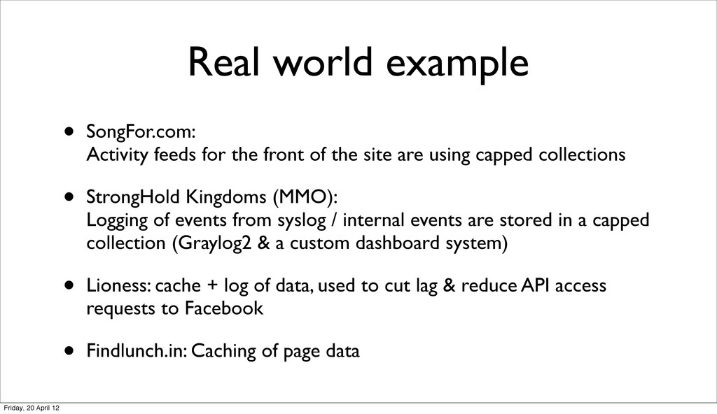Real world example • SongFor.com: Activity feed...