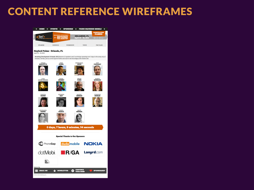 CONTENT REFERENCE WIREFRAMES