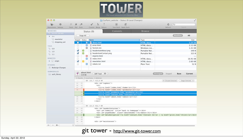 git tower - http://www.git-tower.com Sunday, Ap...