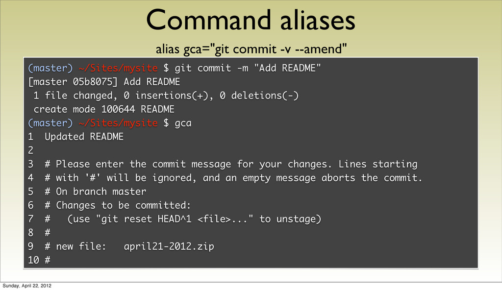 Command aliases (master) ~/Sites/mysite $ git c...