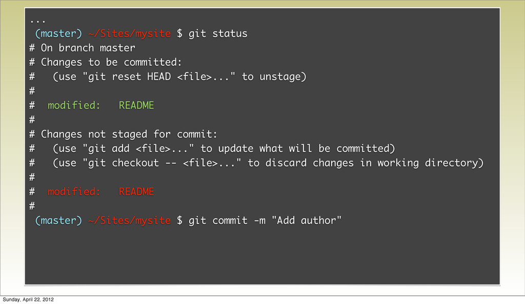 ... (master) ~/Sites/mysite $ git status # On b...