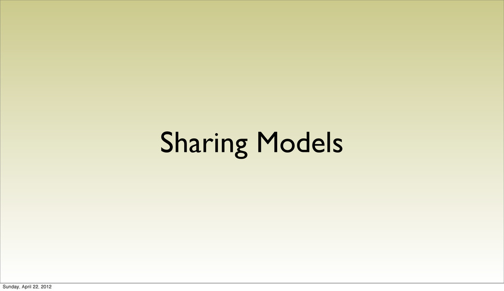 Sharing Models Sunday, April 22, 2012