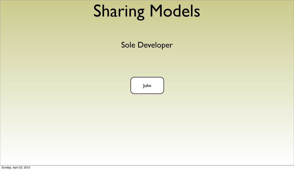 Sharing Models Sole Developer John Sunday, Apri...