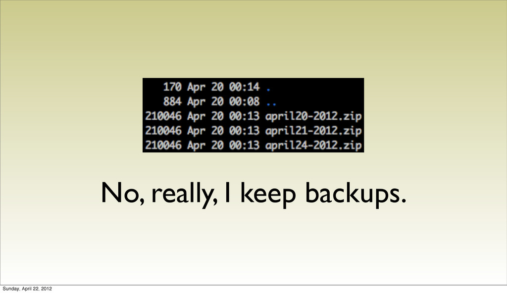 No, really, I keep backups. Sunday, April 22, 2...