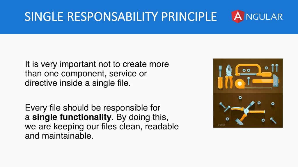 SINGLE RESPONSABILITY PRINCIPLE It is very impo...