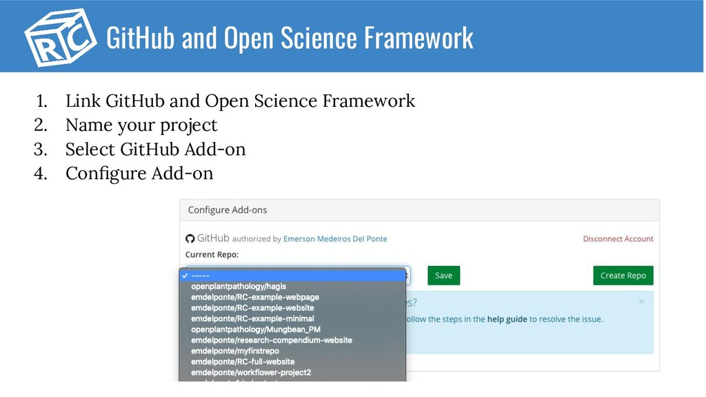 1. Link GitHub and Open Science Framework 2. Na...