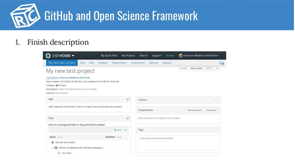 1. Finish description GitHub and Open Science F...