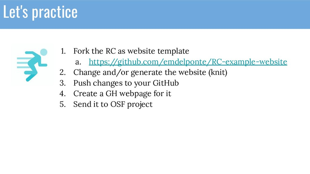 Let's practice 1. Fork the RC as website templa...