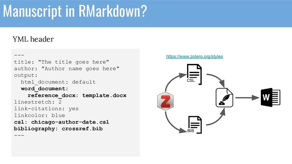 YML header Manuscript in RMarkdown? --- title: ...