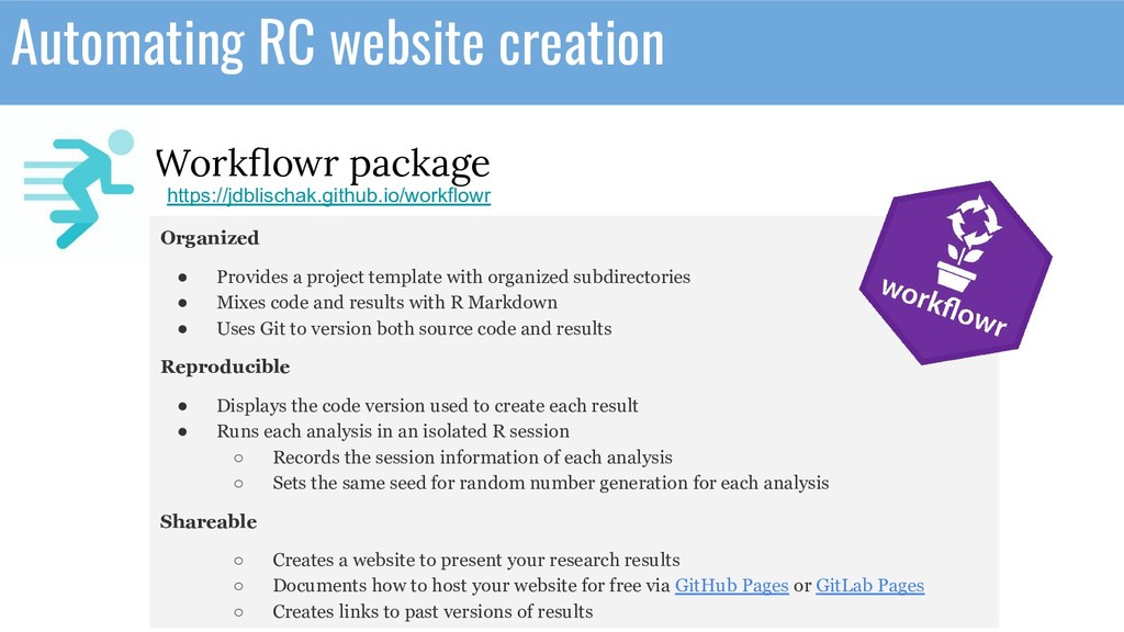 Automating RC website creation Workflowr package...