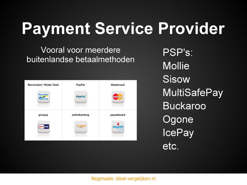 Payment Service Provider PSP's: Mollie Sisow Mu...