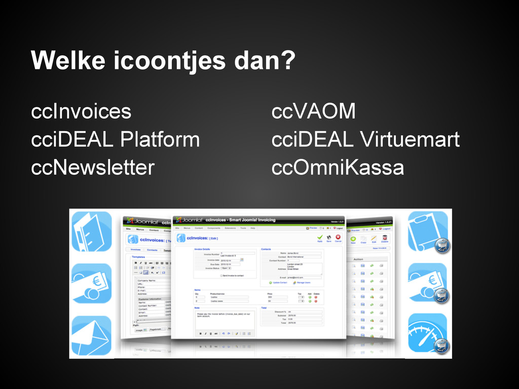 Welke icoontjes dan? ccInvoices cciDEAL Platfor...