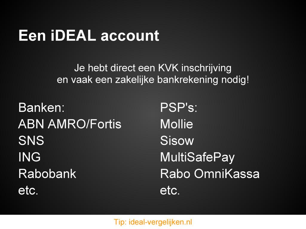 Een iDEAL account Banken: ABN AMRO/Fortis SNS I...