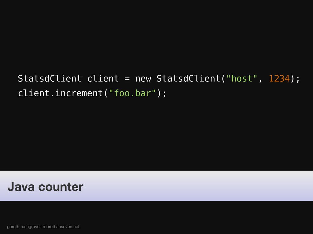 "StatsdClient client = new StatsdClient(""host"", ..."
