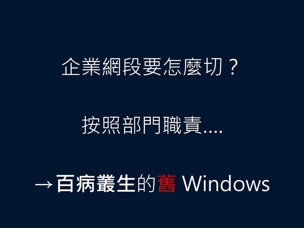 企業網段要怎麼切? 按照部門職責…. →百病叢生的舊 Windows