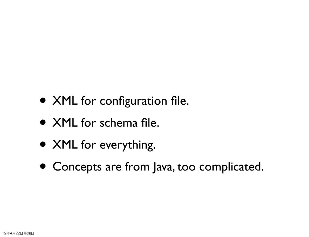 • XML for configuration file. • XML for schema fil...
