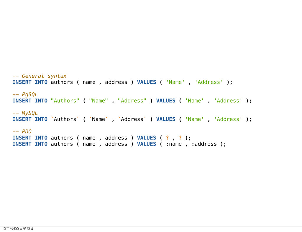 -- General syntax INSERT INTO authors ( name , ...