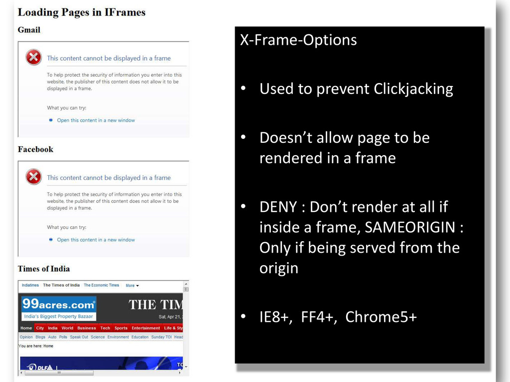 X-Frame-Options • Used to prevent Clickjacking ...