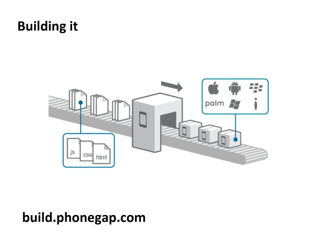 Building it  build.phonegap.com