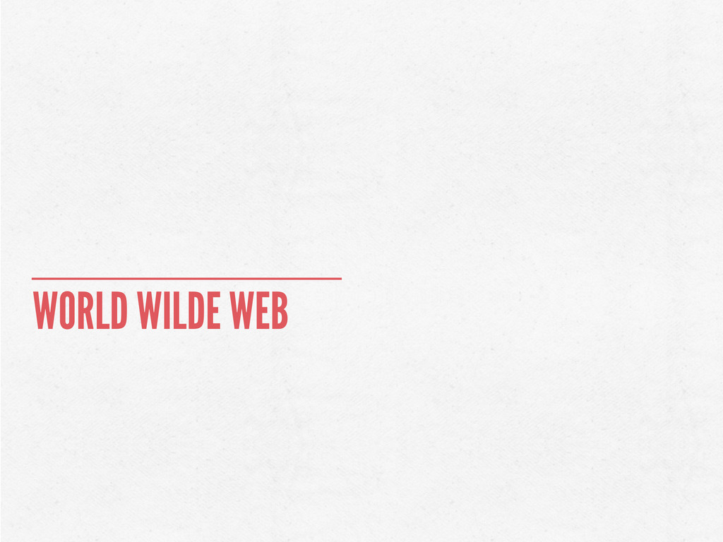 WORLD WILDE WEB